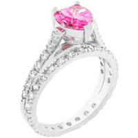 Pink Heart Cubic Zirconia Ring Set, size : 07