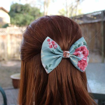 """4.5"""" floral hair bow, fabric hair bow, dark turquoise and red, teal floral hair bow clip, light sea green, cottage chic, floral bow barrette"""