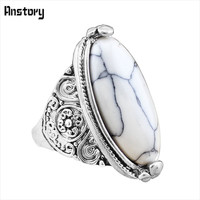 Flower Tail Oval Natural Stone Bead Rings Vintage Look Antique Silver Plated Personality 5 Colors Fashion Jewelry TR362