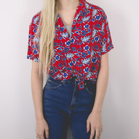 Vintage Floral Colorful Tropical Short Sleeve Blouse
