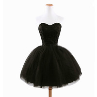 Black Strapless Lace Embroidered Tutu Dress