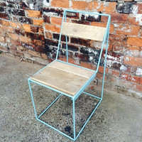 Reclaimed Industrial Chic Solid Wood & Metal Hairpin White Ghost Chair.Steel Wood Metal Hand Made in Sheffield,Office cafe bar restaurant