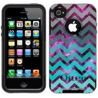Otterbox Commuter Nebula Chevrons Grey Green Turquoise Case for Apple iPhone 4