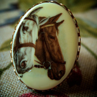 Vintage Two Horse - Adjustable Ring