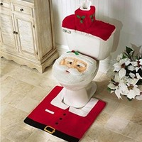 Set of 3 Christmas Decoration Bathroom Santa Toilet Seat Cover and Rug Set Red