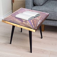 Square Wooden End Table with Sunburst Design Glass Inserted Top, Multicolor