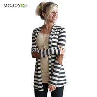 Autumn Striped Bomber Jacket Women Cardigan Long Sleeve Elbow Patchwork Knitted Cotton Thin Jumper Long Women Basic Coats