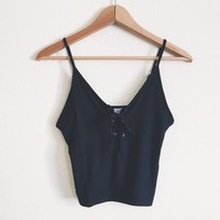 Kari Black Lace Up Tank