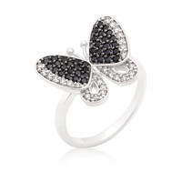 Black And White Cubic Zirconia Butterfly Ring, size : 07