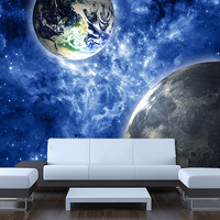 "Ceiling STICKER MURAL space blue stars galaxy night decole poster 93""x93""(236x236cm) /"
