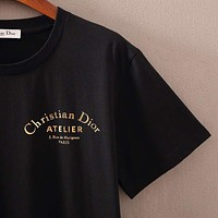 DIOR 2019 new curved gold letter printing men's round neck half sleeve shirt Black