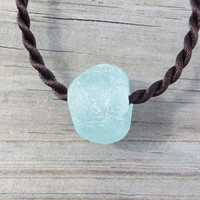 Sea Glass Chunky Bead Aqua Boho Beach Chic by Wave of Life