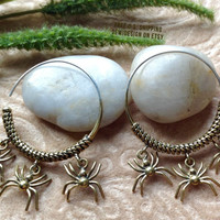 """Tribal Hanging Earrings, """"Spiders"""" Brass, Sterling Posts, Handcrafted"""