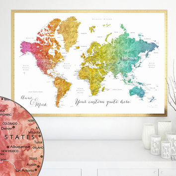 Custom quote world map print - colorful gradient watercolor world map with cities. Color combination: Phoenix