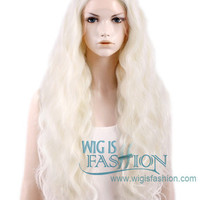 "28"" Long Curly White Platinum Blonde Customizable Lace Front Synthetic Hair Wig LF741B - Wig Is Fashion"