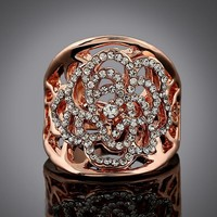 Gift Jewelry New Arrival Shiny Stylish Ladies Hollow Out Diamonds Floral Ring [6056714753]