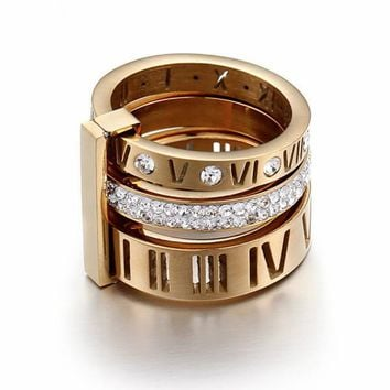 Roman Numerals Slim Ring Set - Stainless Steel