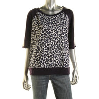 DKNY Womens Jersey Animal Print Casual Top