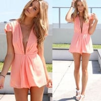 V-Neck Chiffon Playsuit
