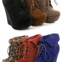 Breckelle's Carrie12 Leopard Folded Cuff Wedge Booties shop Boots at MakeMeChic.com