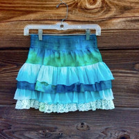 Tie Dye Layered Mini Skirt - Lace Detail - Boho Style - Turquoise Ombre Colors