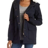 Navy Fleece-Lined Hooded Anorak Jacket by Charlotte Russe