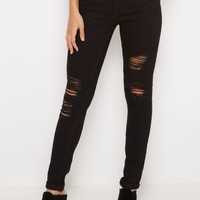 Black Destroyed & Cuffed Skinny Jean | Skinny Jeans | rue21