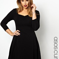ASOS CURVE Exclusive Skater Dress With 3/4 Sleeve at asos.com