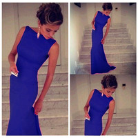 Blue Boat Neck Sleeveless Bodycon Maxi Dress