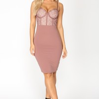 Roselle Lace Dress - Rose
