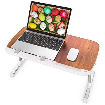 Laptop Table for Bed, TaoTronics Foldable Lap Desks, Bed Desk Height Adjustable, Portable Bed Tray Table for Couch and Sofa, Laptop Stand for Lap and Writing - Brown Large