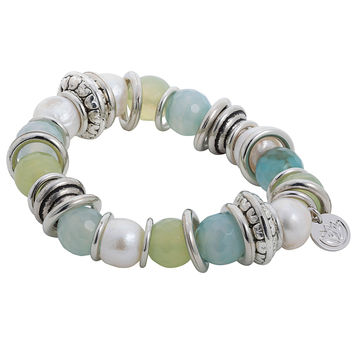 Stretchy Bracelet with Green & Blue Baroque Pearl and Stainless Steel Rings
