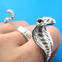 animalcharms | Adjustable Snake Cobra Double Duo Finger Ring in Shiny Silver |  Affordable Animal Charms and Necklaces
