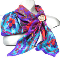 "Vintage Scarf,Large Colourful Scarf,Paisley Plaid Scarf,35"" Square Headscarf,Purple, Fuchsia, Red & Teal Scarf,Boho Scarf,Womens Accessories"
