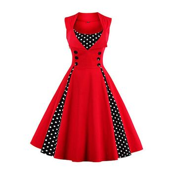 Going out Vintage A Line Polka Dot Red Dress