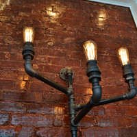 Triple Industrial Pipe Wall Light