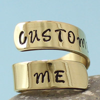 Personalized Gold Ring - Custom Adjustable Brass Ring.. Best Gift..  Hand Stamped Ring.. YOu WiLL LOvE iT