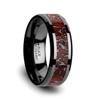 TRIASSIC Red Dinosaur Bone Inlaid Black Ceramic Beveled Edged Ring - 8mm