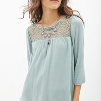 FOREVER 21 Lace-Paneled Woven Top Sage