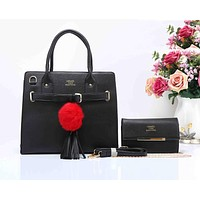 HERMES Fashion Tassel Ball  Women Shopping Leather Crossbody Satchel Shoulder Two Piece Black I-XS-PJ-BB