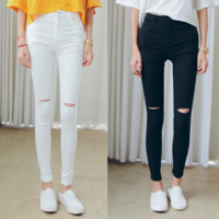Elastic waist jeans female pencil pants thin Slim pants feet pantyhose hole