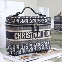 Dior travel Bois de Rose canvas embroidered rattan check cosmetic bag