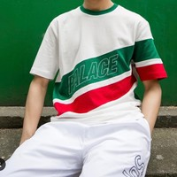 Stripe skateboard male and female short sleeves summer lovers [11086459655]