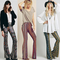 Hot Bell Bottom Pants Hippie Boho Multi Paisley Print Stretch Wide Leg Trousers