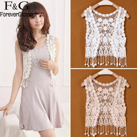 FANALA Crochet Capelet 2017 Hollow out Shawl Scarf Lace Vest Cape Top Female Shawl Capes Summer Tassel Waistcoat Sleeveless Top