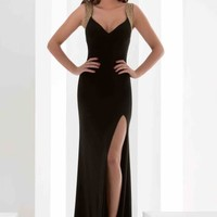 Jasz Couture Cap Sleeved Beaded Dress 5604