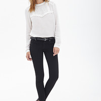 FOREVER 21 Classic Solid Skinny Jeans Black
