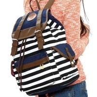 Save4Pay® Cute Fashion Women Ladies Girls Backpack Canvas Stripe Leisure Travel Book Bag