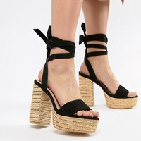 PrettyLittleThing Ankle Tie Espadrille Heeled Sandals at asos.com