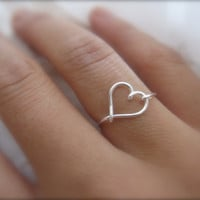 Silver Heart Ring by DesignedByLei on Etsy